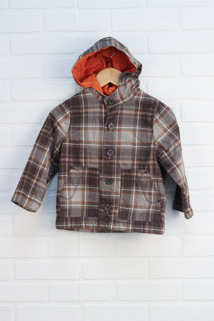 Khaki + Orange Plaid Jacket (Size 3T)