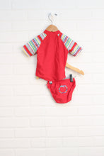 Crimson Rashguard Swimsuit (Size S/3-6M) 2 Pieces