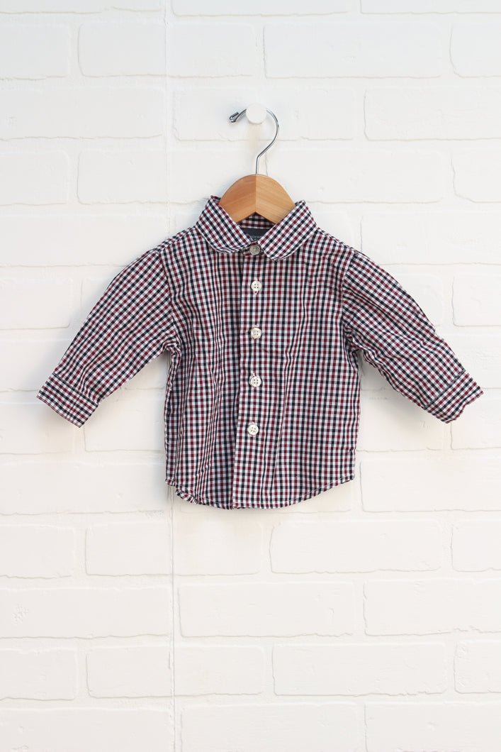 Burgundy + Black Checked Button Up (Size 3-6M)