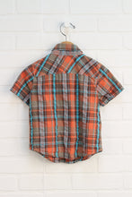 Orange + Turquoise Plaid Button Up (Size 2T)