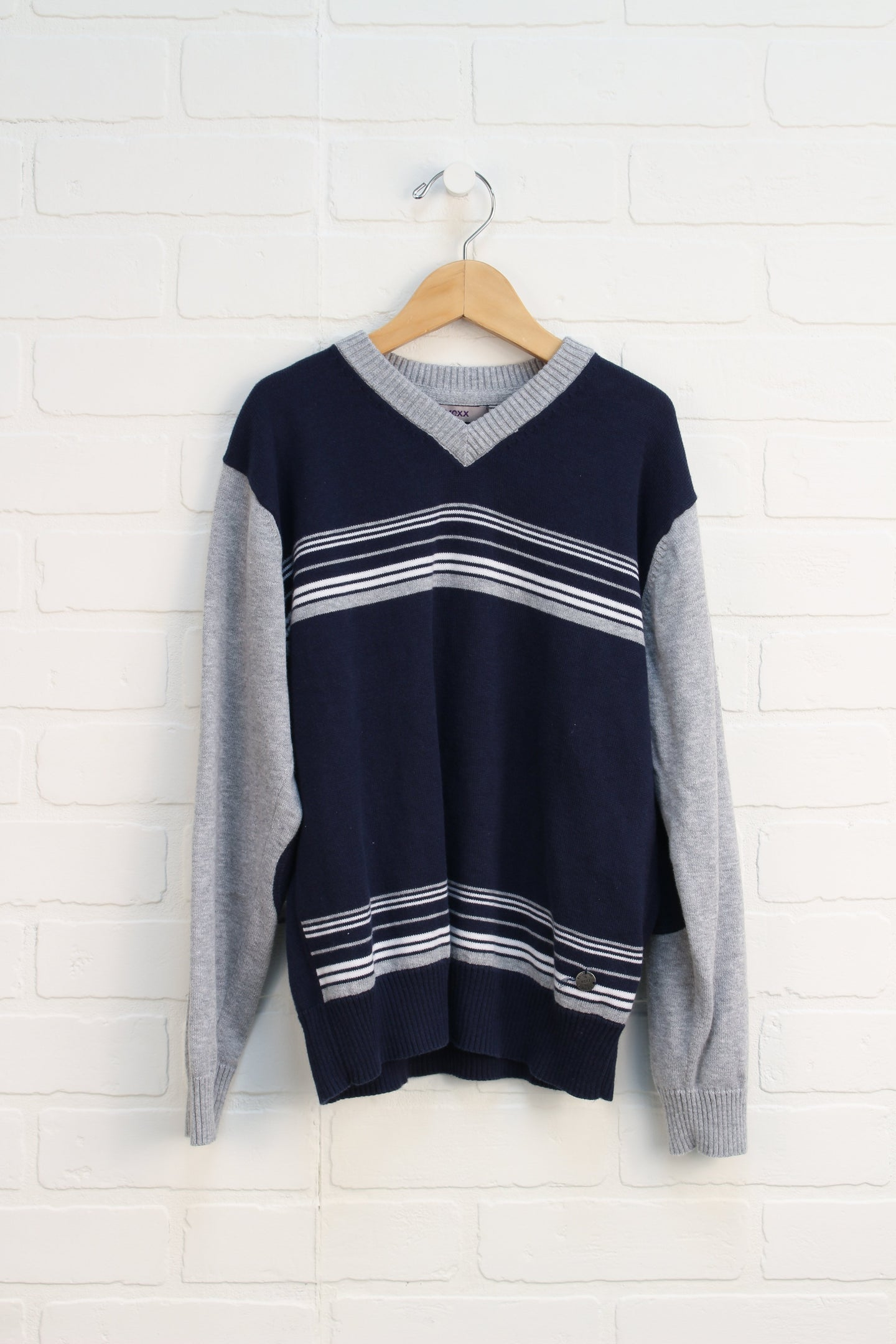 Heathered Grey + Navy V-Neck Sweater (Size XL/9-10)