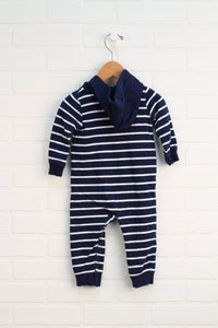Navy + White French Terry Hooded Romper (Carter's Size 12M)