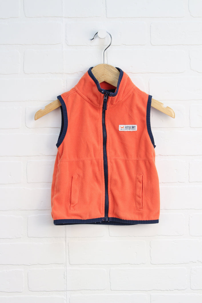 Orange + Navy Fleece Vest (Size 24M)