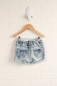 Distressed Wash Cuffed Jean Shorts (Size 9-12M)