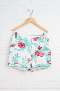 White Floral Shorts (Size 16)