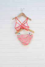 Fluorescent Pink + White Striped Bikini (Size 7) 2 Pieces