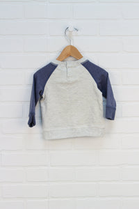 NWT Cream + French Blue Raglan Sweatshirt (Size 3-6M)