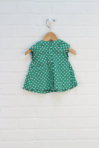 Green + White Polka Dot Tunic (Size 3-6M)