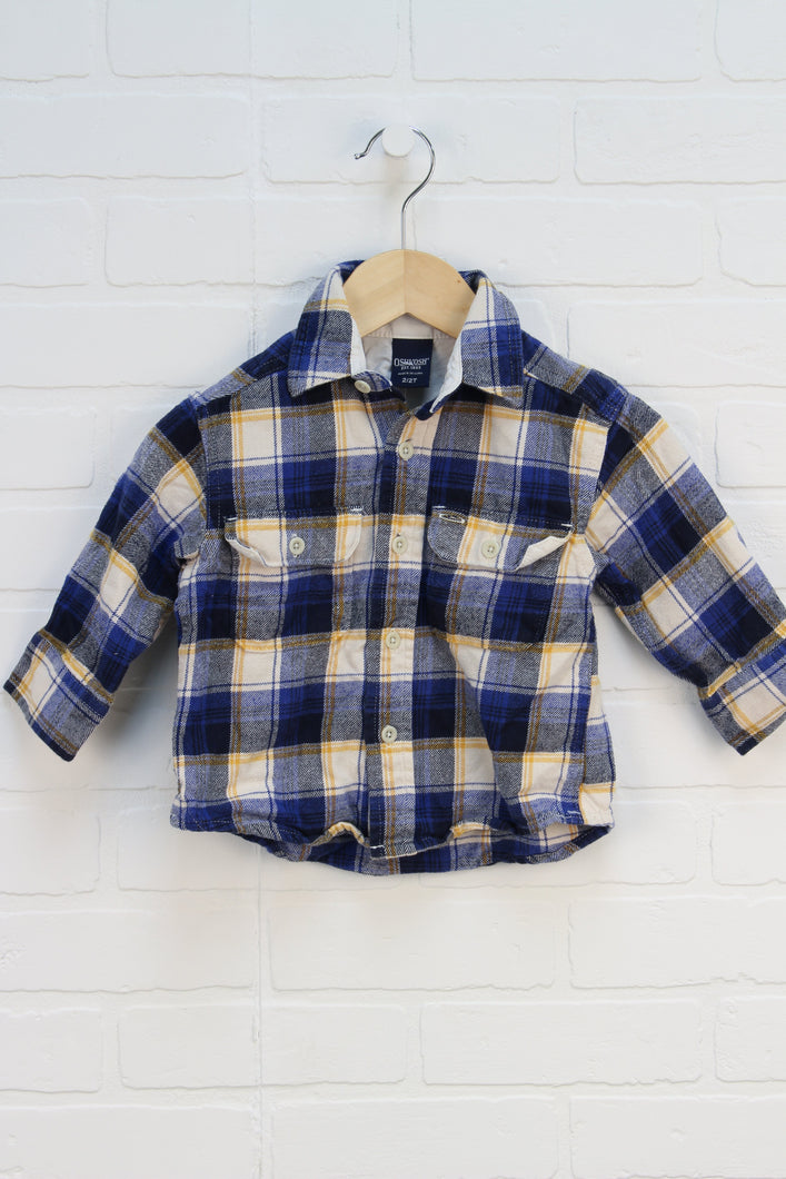 Blue + Mustard Plaid Flannel Top (Size 2/2T)