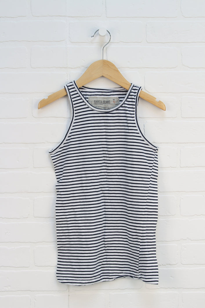 White + Navy Striped Tank (Size 152/12)