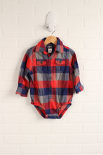 Red + Blue Flannel Onesie (Size 24M)