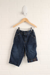 Dark Wash Flannel Lined Jeans (Size 18-24M)
