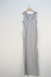 Heathered Grey + White Striped Dress (Maternity Size S)