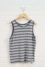 Heathered Grey + White Striped Tank (Size M/12)