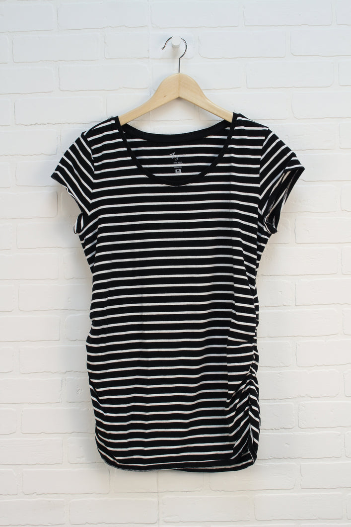 Black + White Striped Maternity Top (Maternity Size XL)