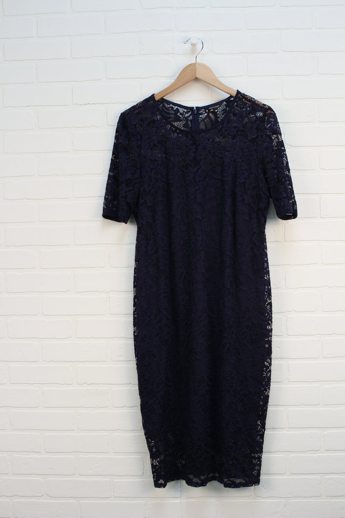 Navy Lace Overlay Maternity Dress (Maternity Size L)