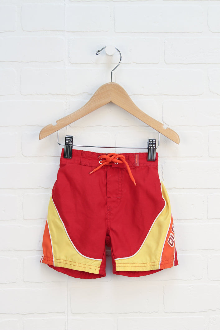 Crimson + Yellow Swim Trunks (Size 6-12M)