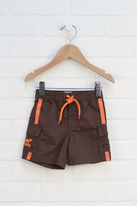 Brown + Orange Shorts (Size 6-12M)