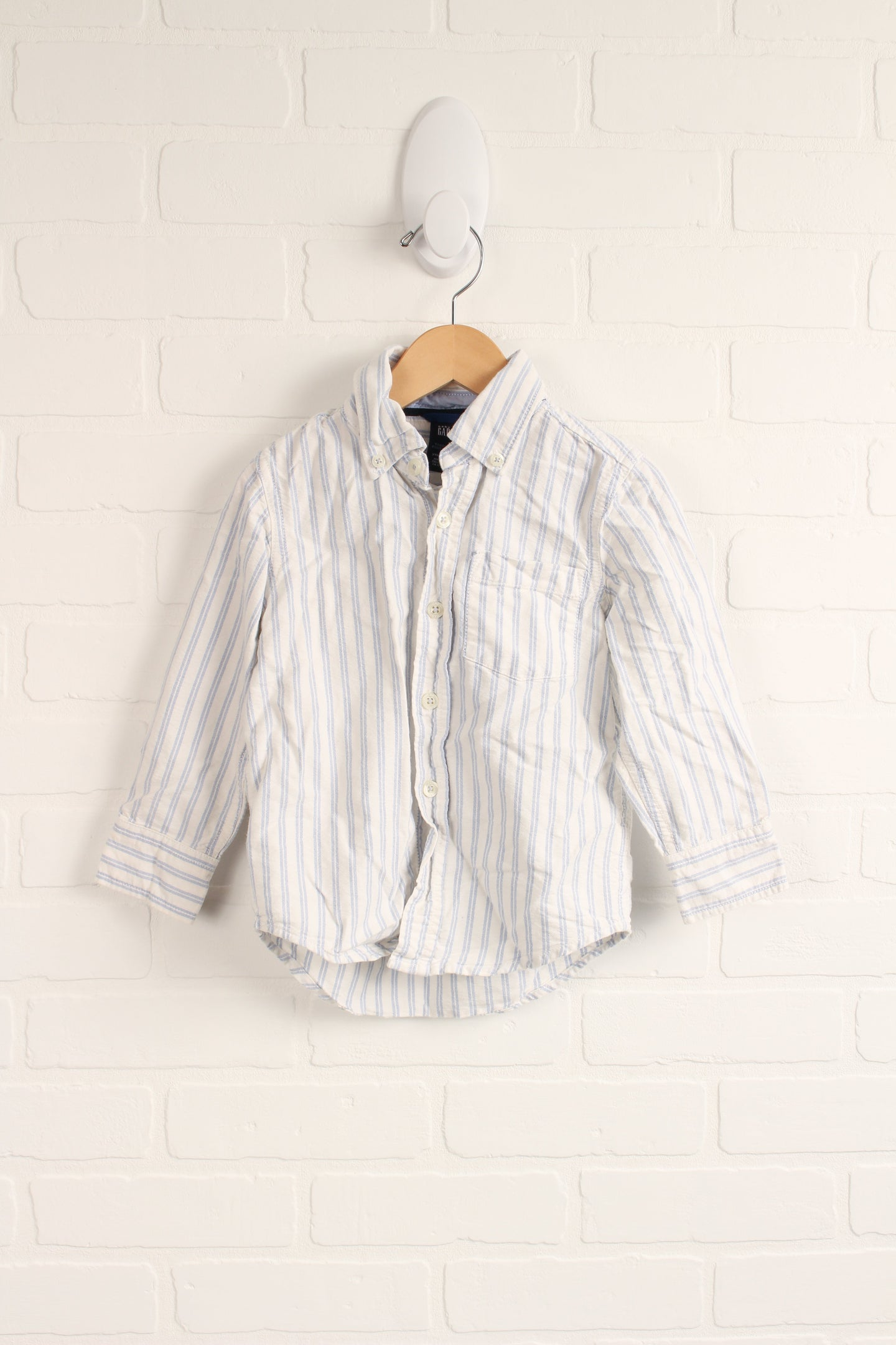 White + Blue Striped Button-Down (Size 4)