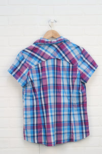 Plum + Blue Plaid Adventure Shirt (Women's Size L)