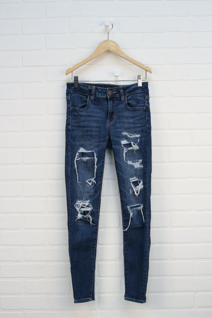 Distressed Wash Skinny Jeans (Women's Size 2)