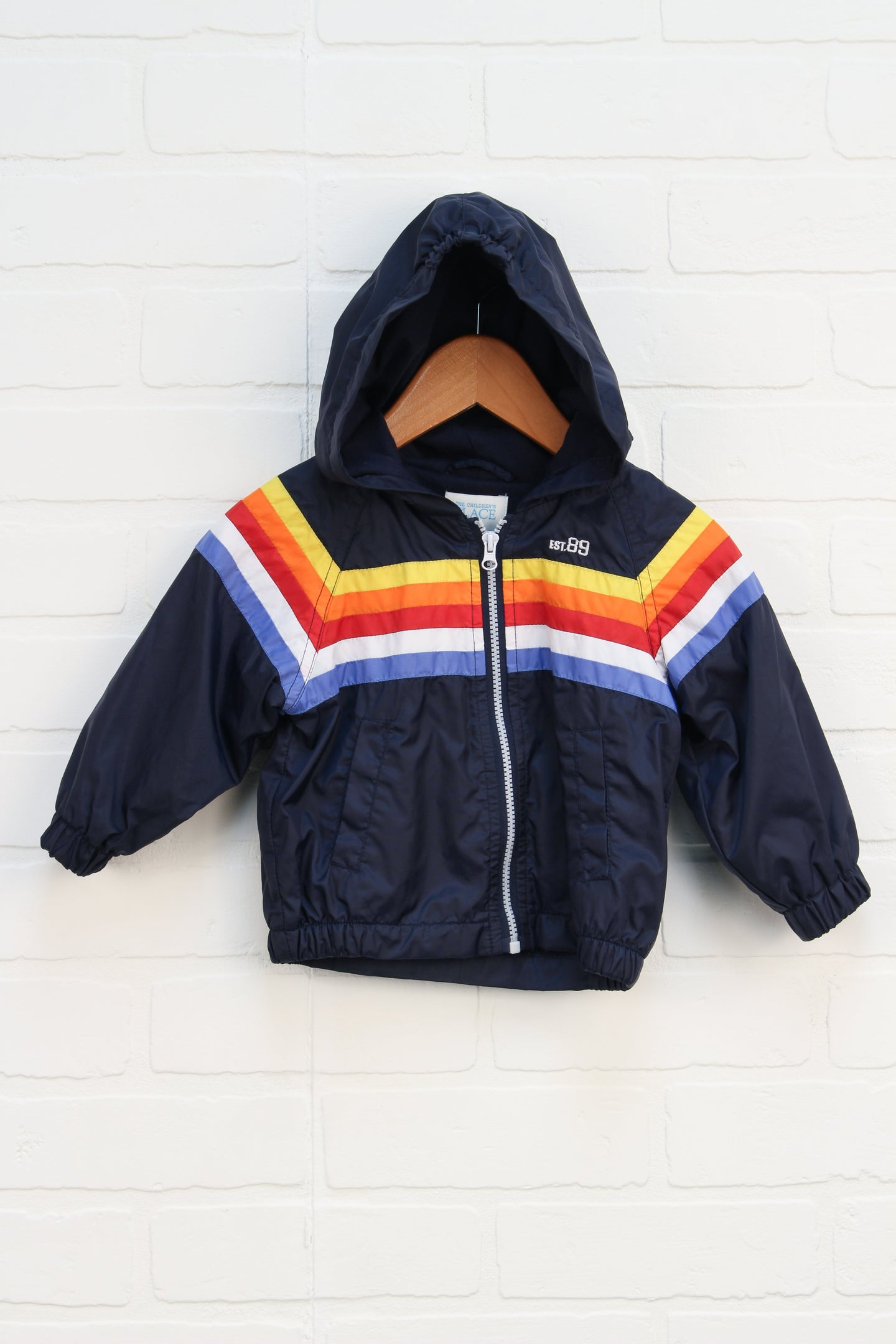 Navy + Multi Retro Hooded Windbreaker (Size 6-12M)