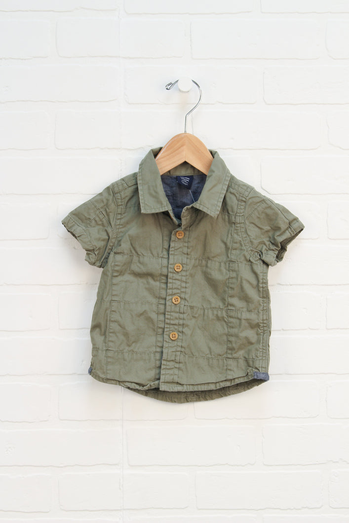 Khaki Button-Up (Size 6-12M)