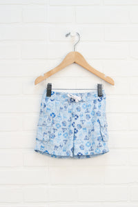 Light Blue Graphic Swim Trunks: Nautical (Size 6-12M)