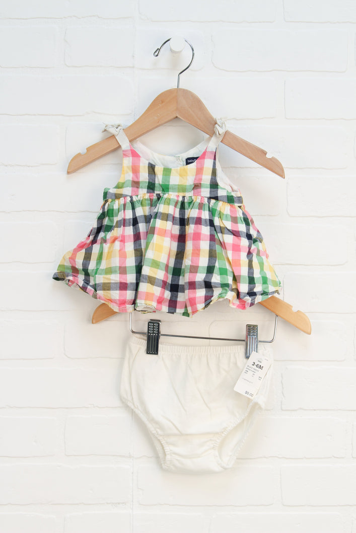 Cream + Multi Gingham Tunic + Bloomers (Size 3-6M) 2 Pieces