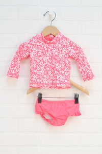 Fluorescent Pink + White Rashguard Swimsuit (Carter's Size 6M) 2 Pieces