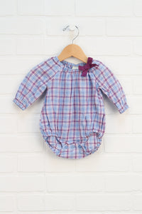 Light Blue + Purple Plaid Blouse Onesie (Size 3M)