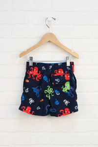 Navy Graphic Swim Trunks (Size 9-12M)