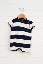White + Navy Terry Cloth Romper (Size 3-6M)