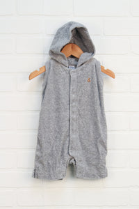 Heathered Grey Hooded Terry Cloth Romper (Size 3-6M)