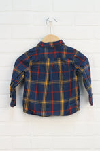 Blue + Mustard Plaid Button Up (Size 18M)