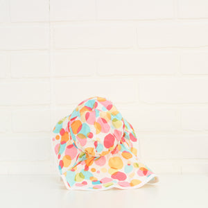 White + Multi Polka Dot Sun Hat (Size S/3-6M)