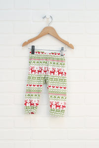Red + Green Graphic Leggings: Reindeer (Size 6-9M)