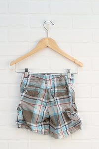 Putty + Turquoise Plaid Shorts (Size 3T)