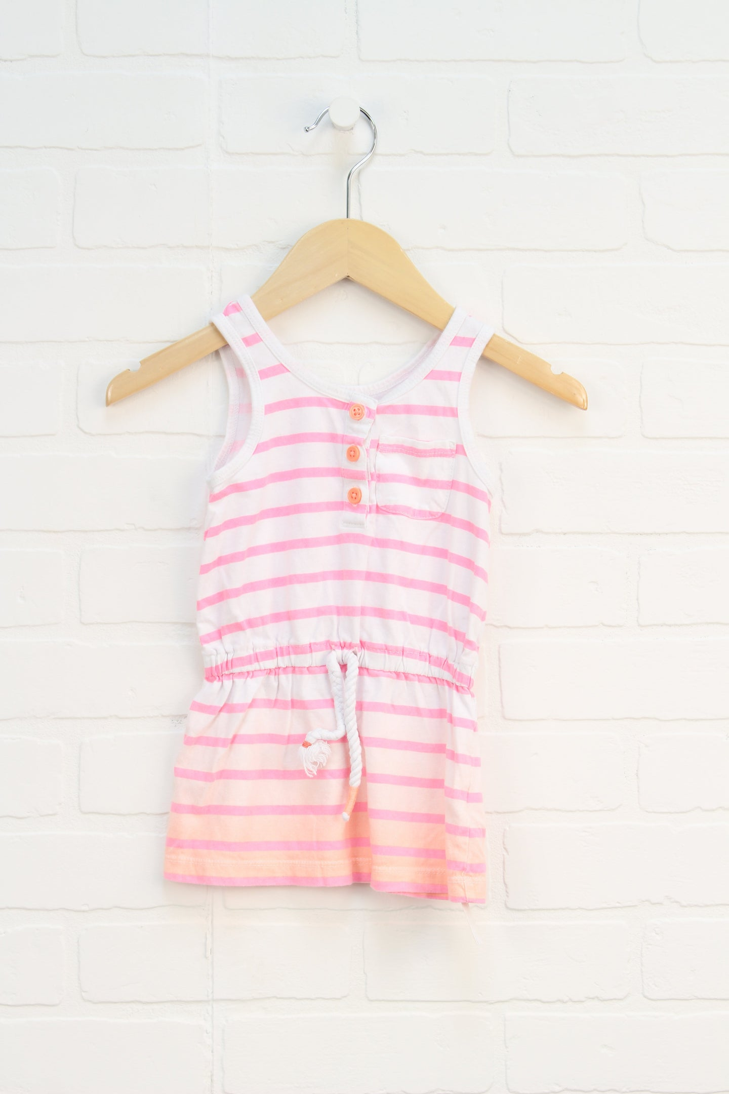 White + Fluorescent Pink Sundress (Size 2T)