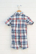 White, Navy + Red Plaid Romper (Size 18M)