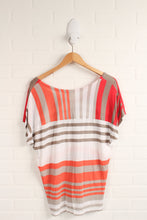 White + Hot Pink Dolman Sleeve Top (Women's Size S)