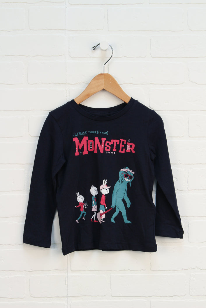 NWT Navy Graphic T-Shirt: Monster (Size 3)