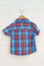 Orange + Turquoise Plaid Button-Up (Size 3)