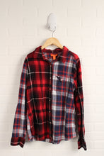 Red + Blue Plaid Mismatched Flannel Top (Size 16)