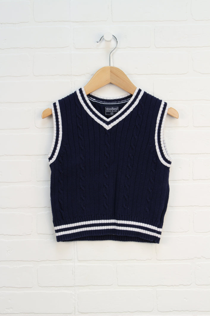 Navy + White Cable Knit Sweater Vest (Size 2-3)