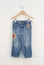 Vintage Wash Applique Jeans: Sunflowers (Size 4)