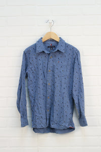 Chambray Graphic Button-Up: Trees (Size M/8-10)