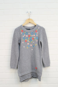 Grey Floral Sweater Dress (Size L/6-7)