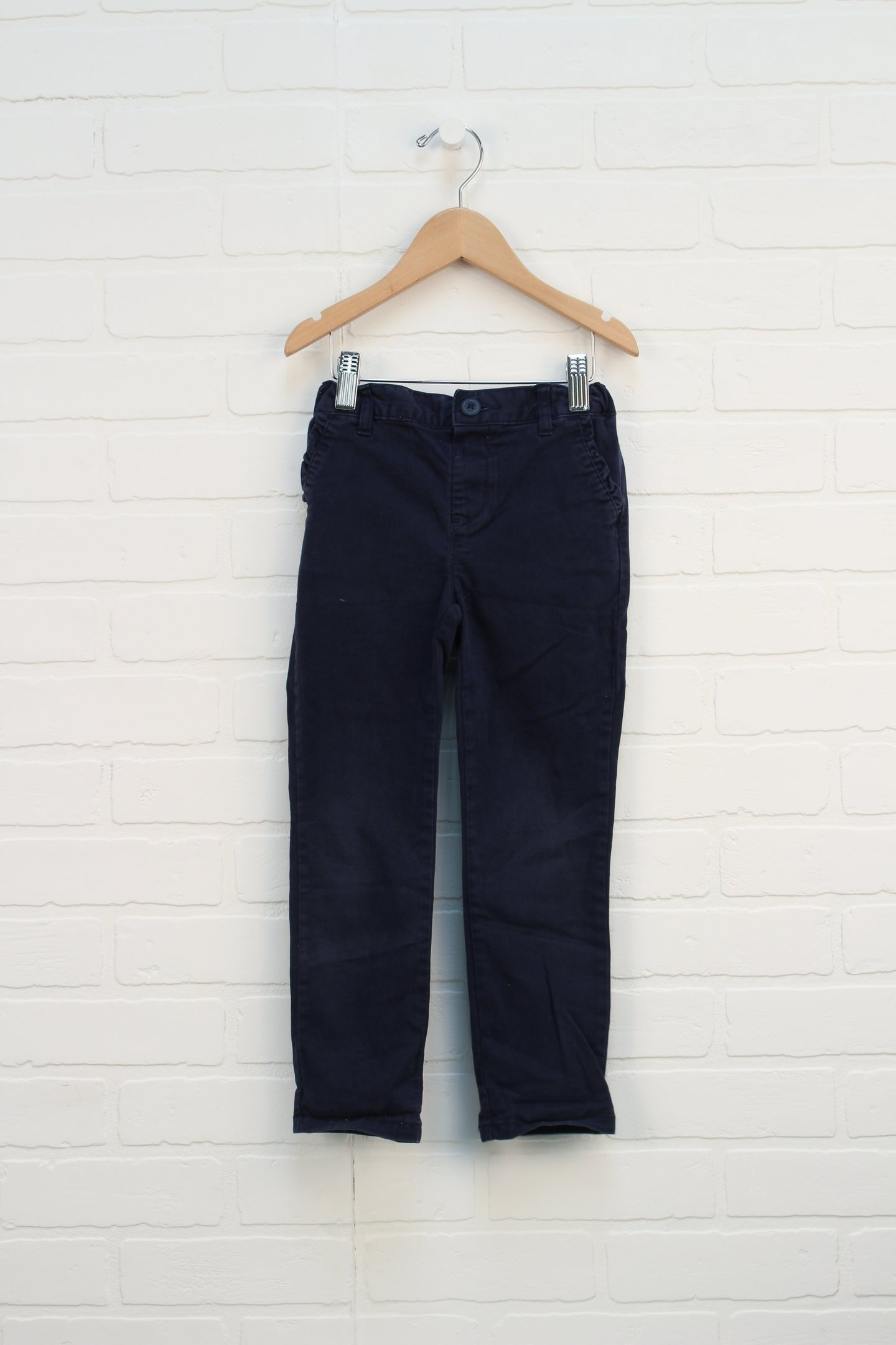 Navy Ruffle Pocket Uniform Pants (Size 5T)