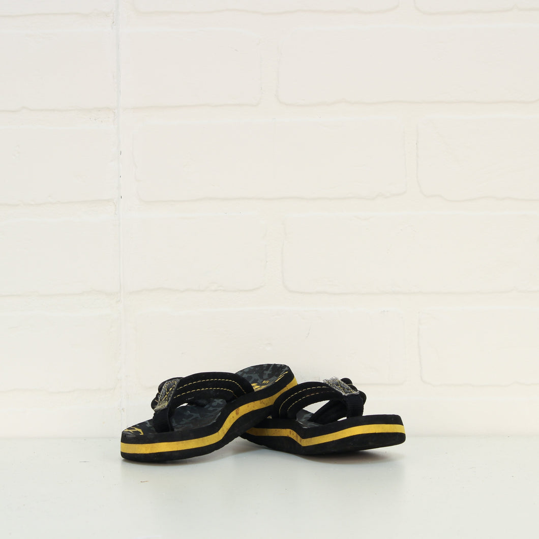 Black + Mustard Flip Flops (Little Kids Shoe Size 5-6)